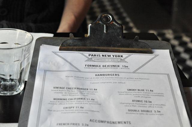 La carte de Paris New York Hamburgers