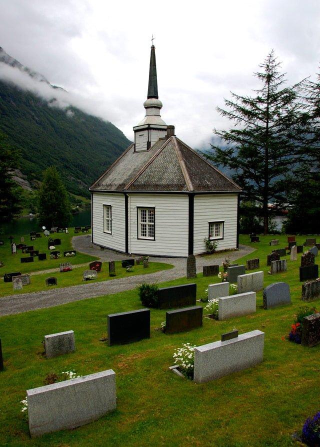 Norvège, église en bois de Geiranger