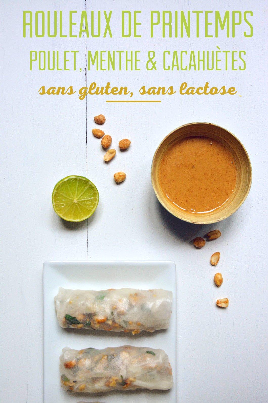 Rouleaux de printemps au poulet, menthe, citron vert et cacahuètes, sans gluten et sans lactose - 22 v'la Scarlett