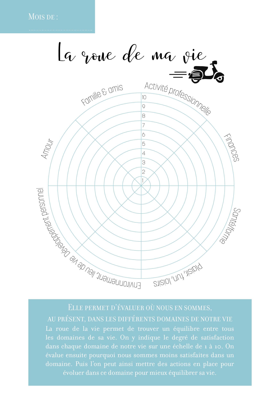 Carnet de développement personnel : la roue de la vie - 22 v'la Scarlett
