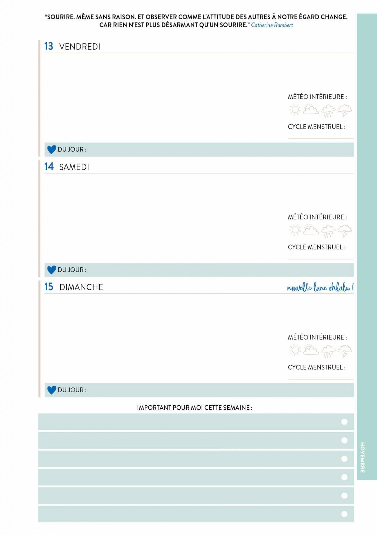 L'agenda 2020 qui me veut du bien : planning de la semaine - 22 v'la Scarlett